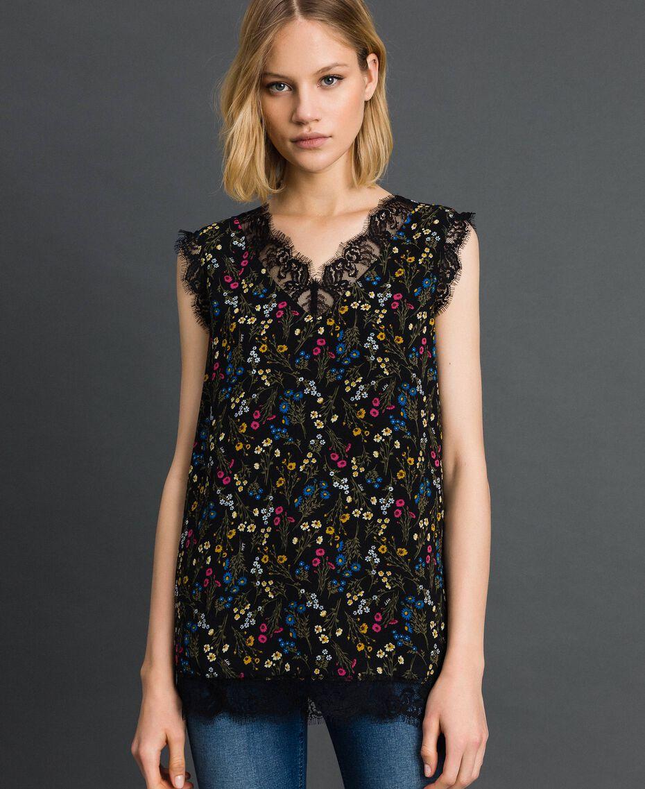 Top avec imprimé floral et dentelle Imprimé Petites Fleurs Noir Femme 192MP222A-02