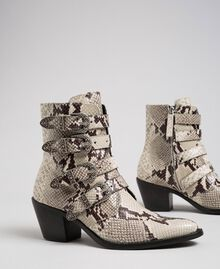 Cowboystiefelette aus Leder mit Animal-Dessin Felsenpythonprint Frau 192TCT06E-01