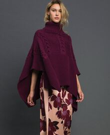 Cable and rib knit poncho Burgundy Red Woman 192MO530J-01