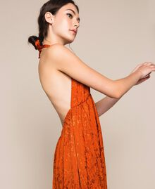 "Long jacquard dress with floral design ""Ace"" Orange Woman 201LB2HAA-02"