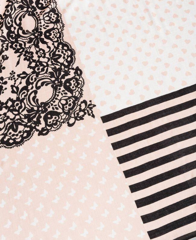 """Keffieh en viscose imprimé Imprimé Rose """"Sable Rose"""" / Noir Femme 191TO530L-01"""