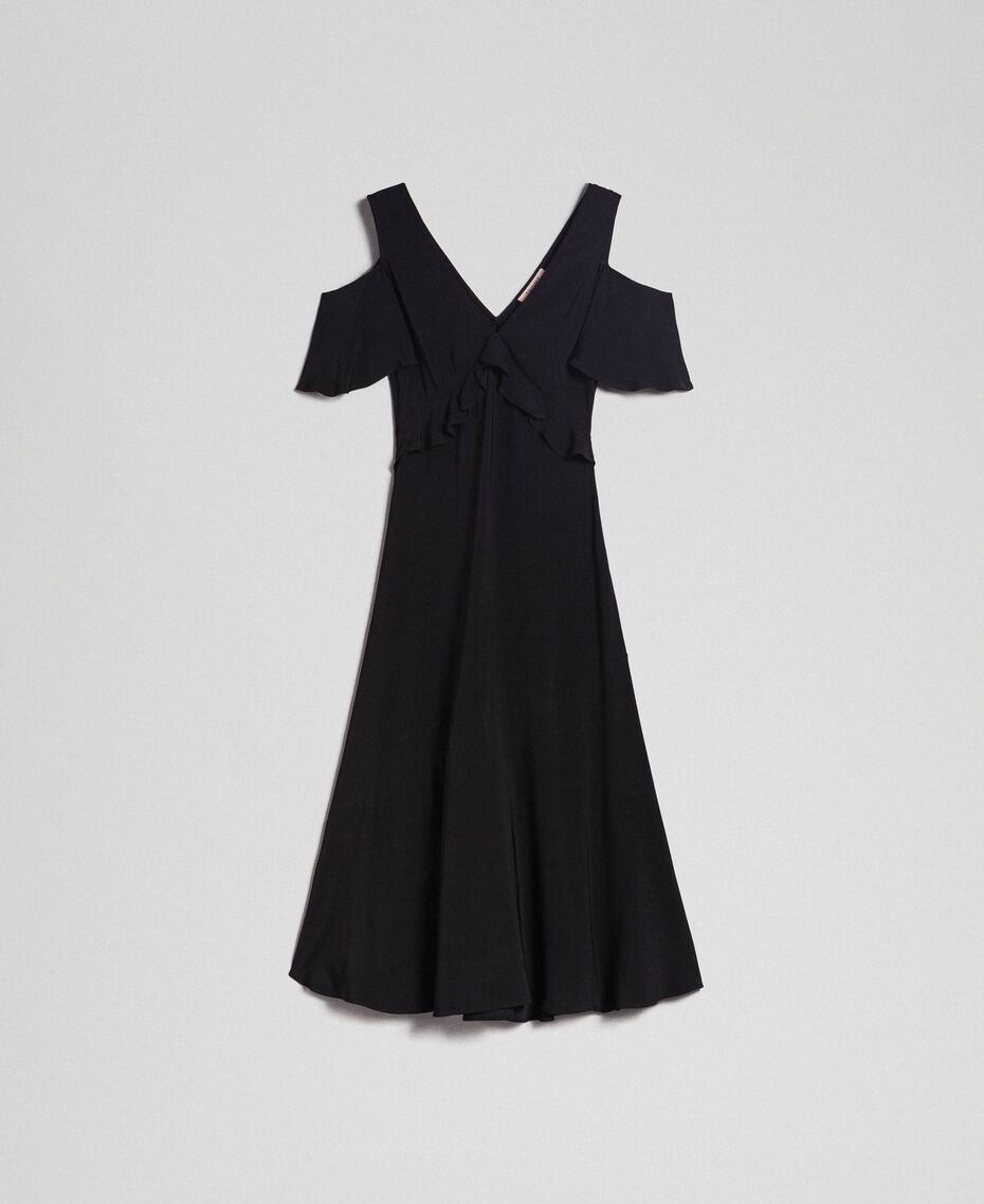 Georgette long dress with flounce Black Woman 192TP2385-0S
