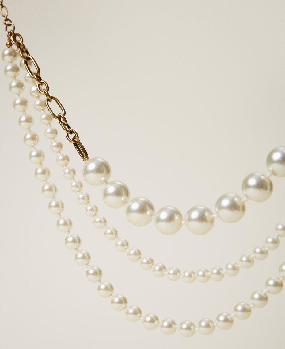 Choker with pearls Parchment White Woman 202TO5049-01