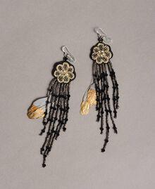 Ohrringe mit Blumen- und Perlenfransen Schwarz Frau 191TO534K-01