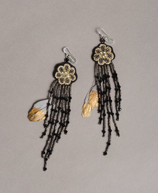 Earrings with flower and beaded fringes Black Woman 191TO534K-01