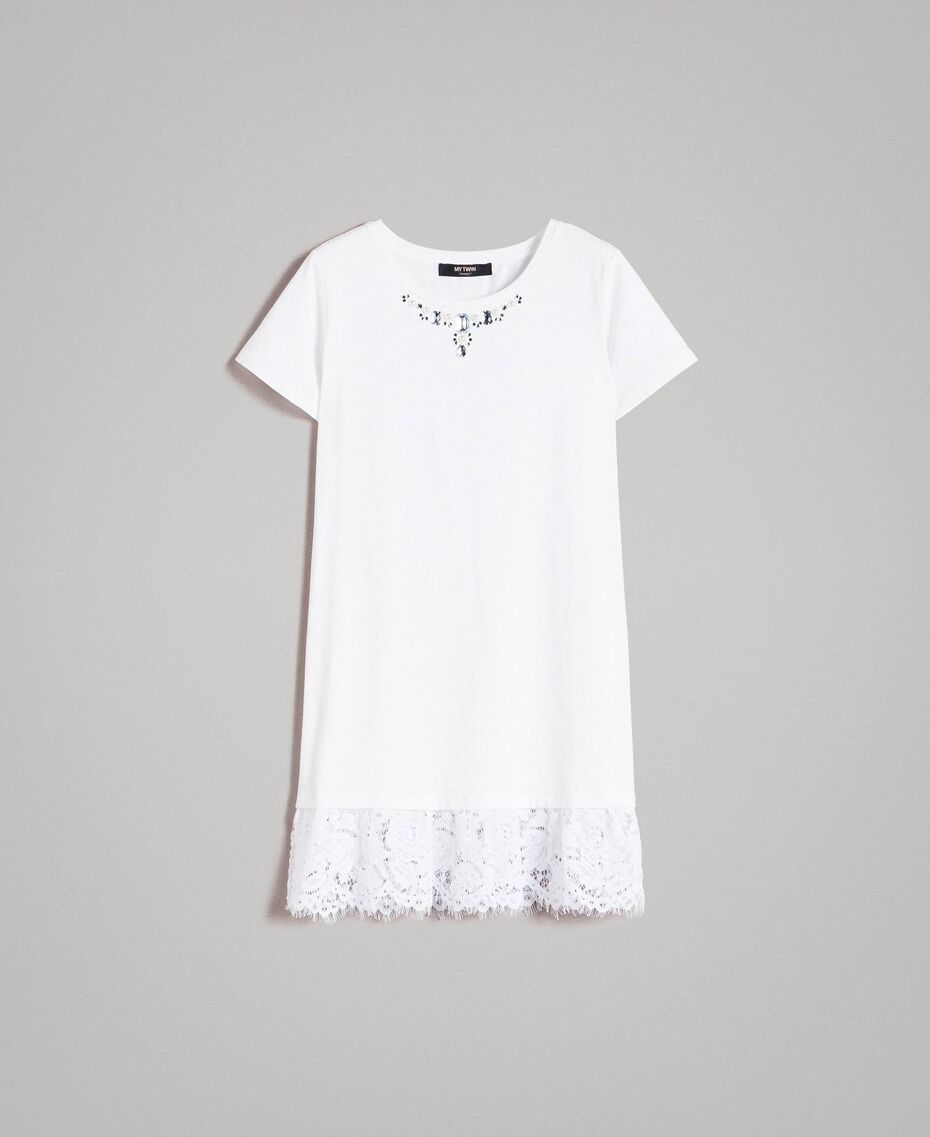 Maxi T-shirt with embroidery and lace White Cream Woman 191MP2065-0S