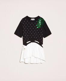 "Plush dress with polka dots and poplin Two-tone Polka Dot Print / ""Papers"" White Child 201GJ2320-0S"