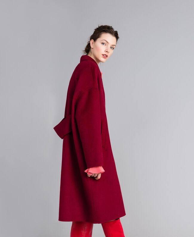 Cappotto lungo in panno double Bordeaux Donna PA8262-03