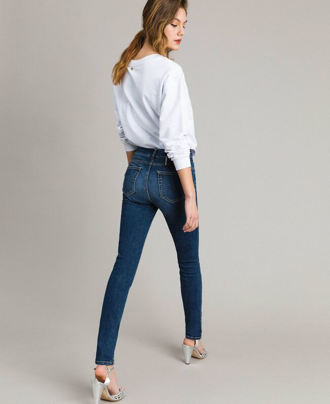 Skinny jeans with charms Denim Blue Woman JCN2V3-03