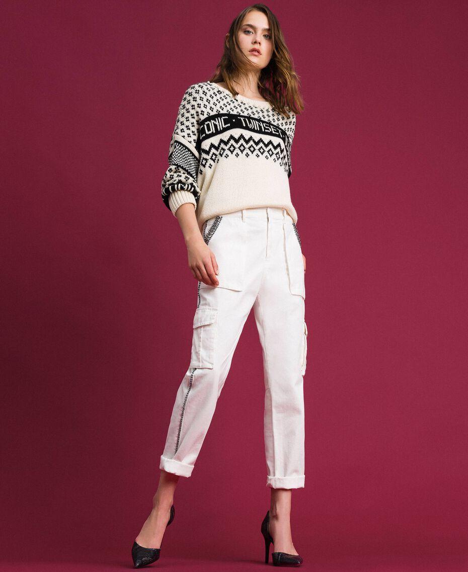 Pantaloni combat con pietre e borchie Bianco Neve Donna 192TP2583-0T