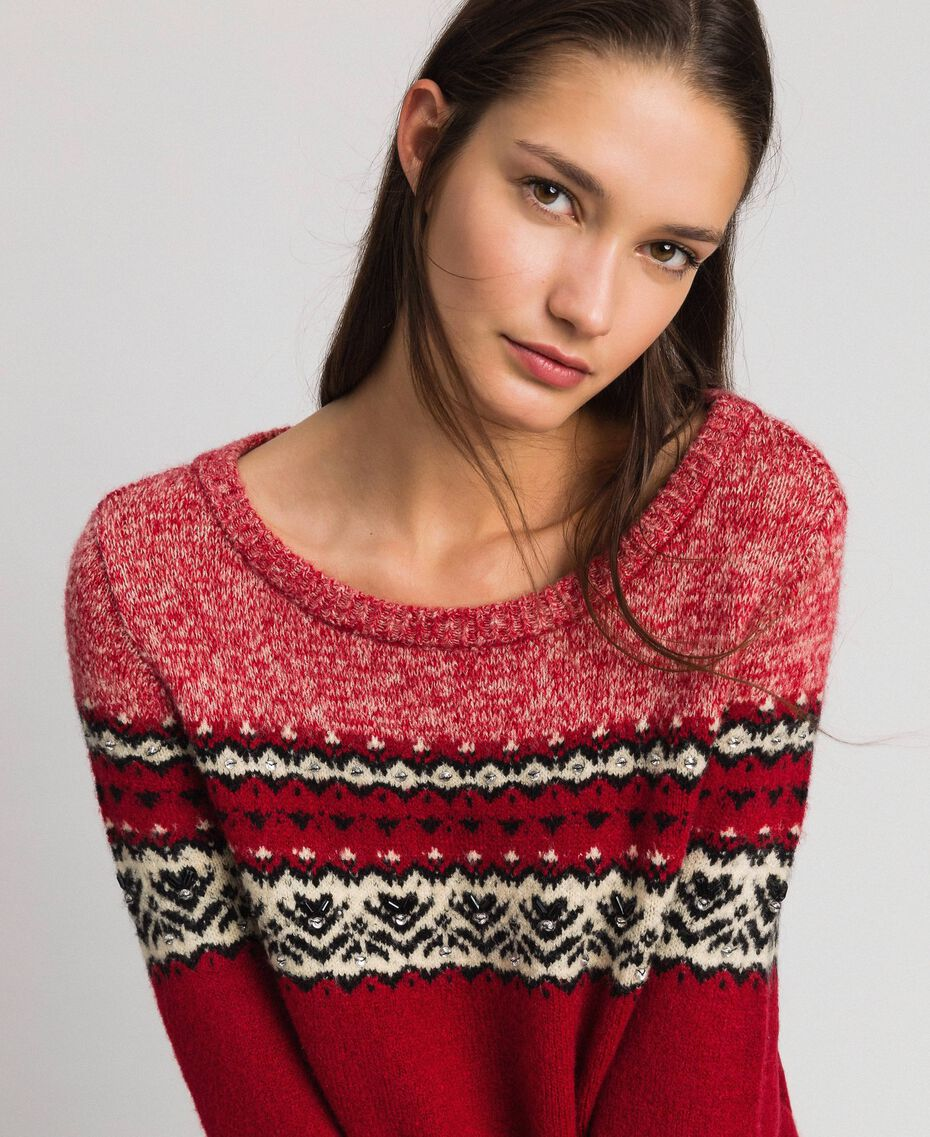 Maxi maglia in misto lana mohair jacquard Rosso Ardente Donna 192LL3AHH-01