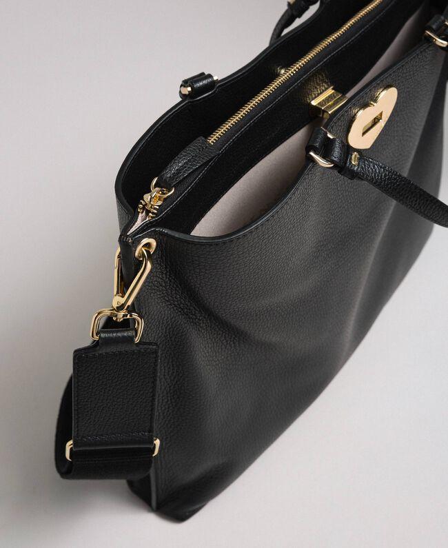 Grand cabas en cuir à bandoulière Noir Femme 192TO8090-04