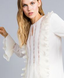 Silk blend blouse with ruches and lace White Snow Woman TA823Q-04