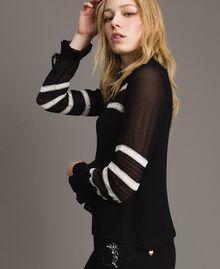 "Georgette and lace blouse Bicolour Black / ""Snow"" White Woman 191TP2122-02"
