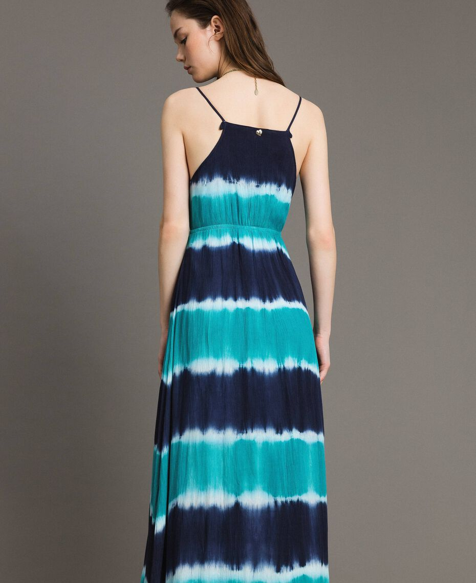 """Tie-Dye-Maxikleid mit Streifen Multicolour Blunight / Cremeweiß / """"Green Bay"""" Grün Frau 191MT2322-03"""