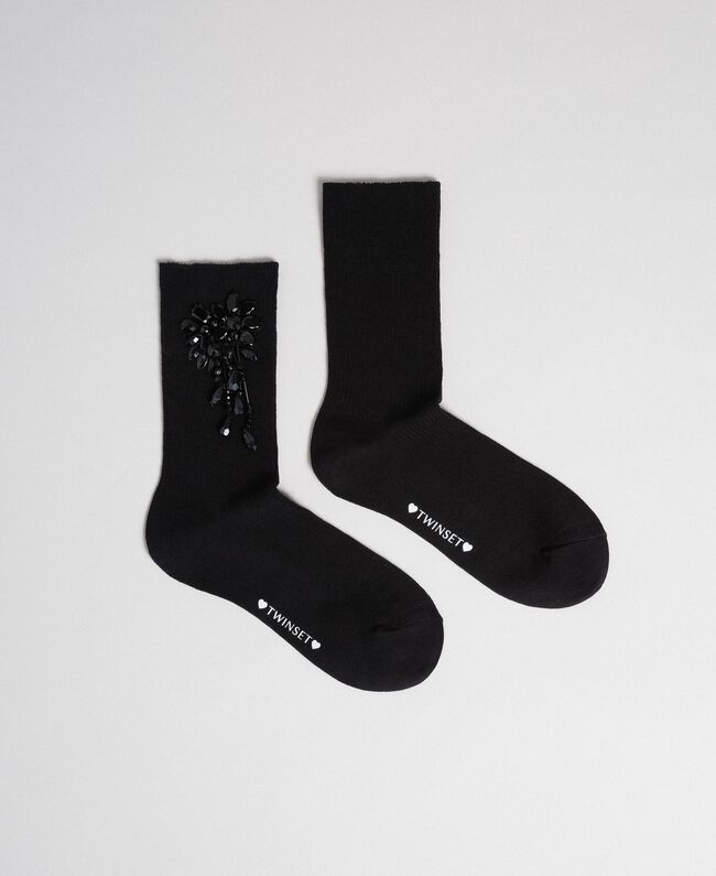 Socks with stones and beads Black Woman 192TO5414-01