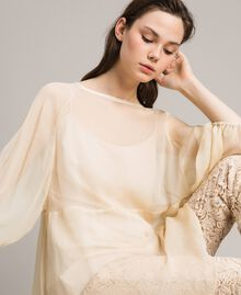 Crepon and georgette dress Ecrù Woman 191ST2207-04