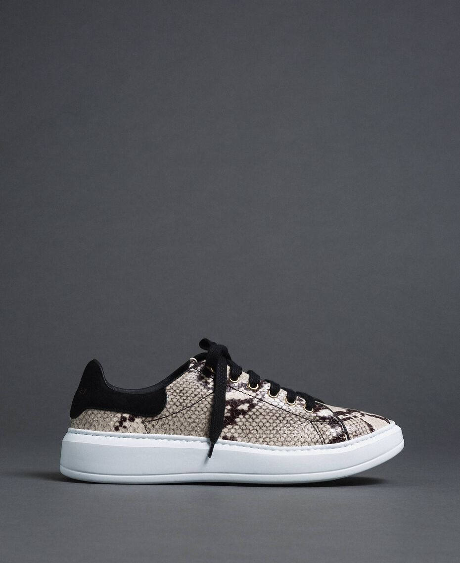 Sneakers in pelle con stampa animalier Stampa Pitone Roccia Donna 192TCT118-03