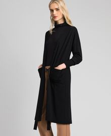 Maxi cardigan en laine mélangée Noir Femme 192ST3161-03