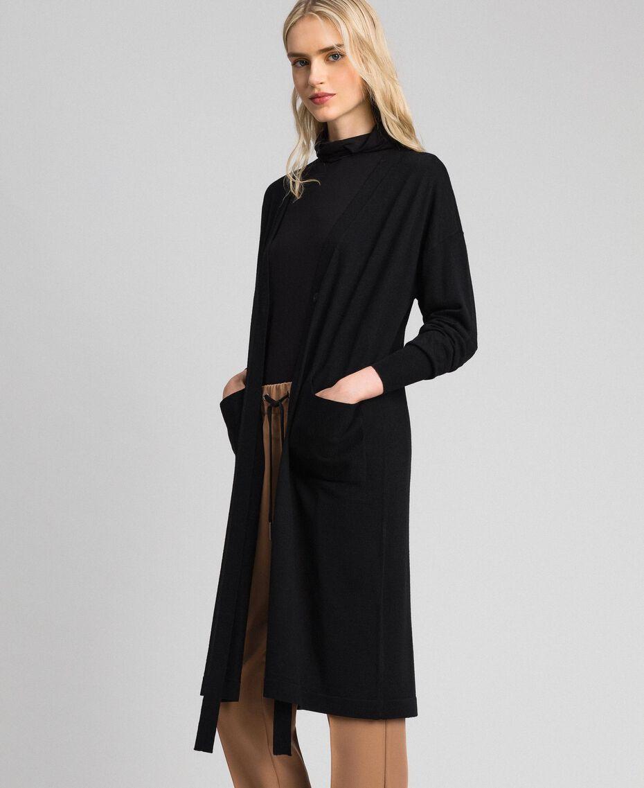 Maxicardigan aus Wollmischung Schwarz Frau 192ST3161-03