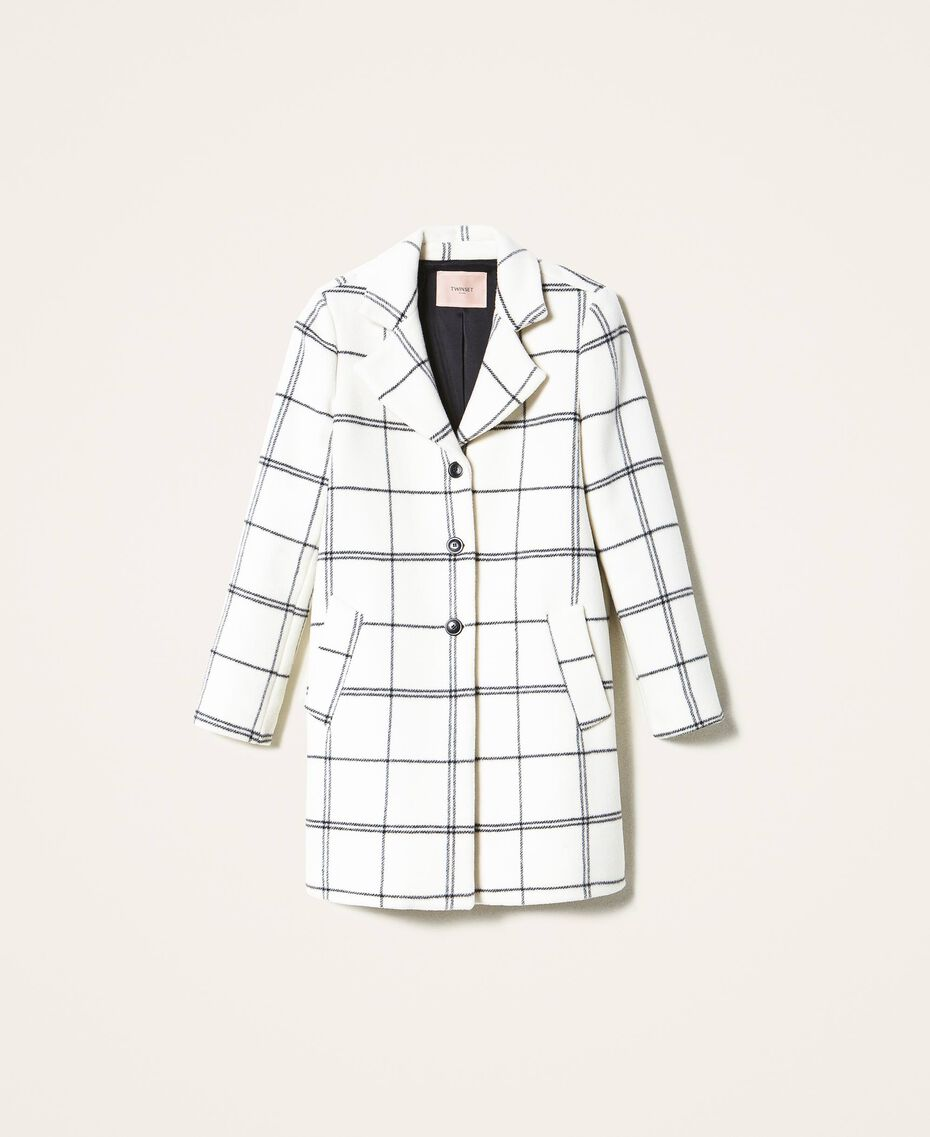 Пальто из жаккардового сукна Большая Клетка Двухцветный Черный Белый / Черный женщина 202TP224A-0S