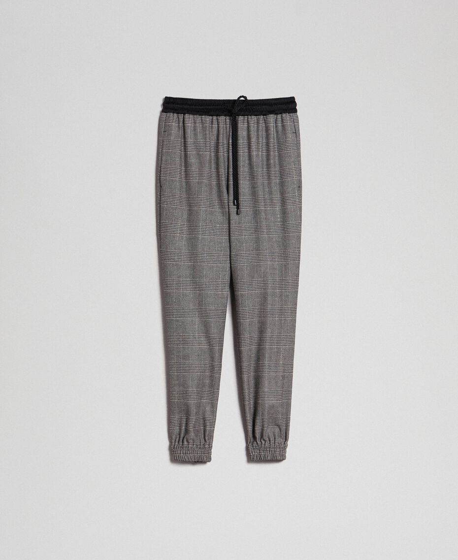 Glen plaid jogging trousers Lurex Dark Grey Wales Design Woman 192TT2441-0S