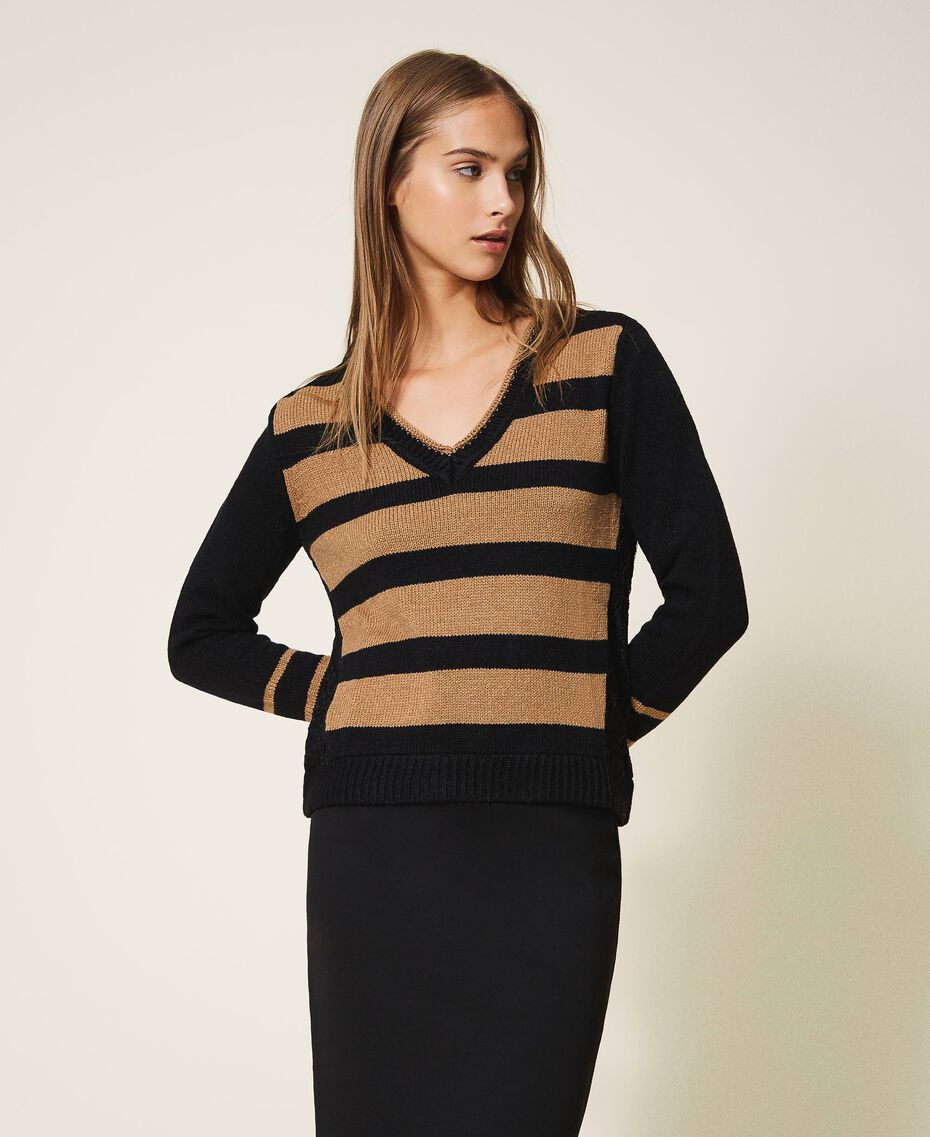 Striped jumper with lace Two-tone Black / Brown Sugar Woman 202ST3051-01
