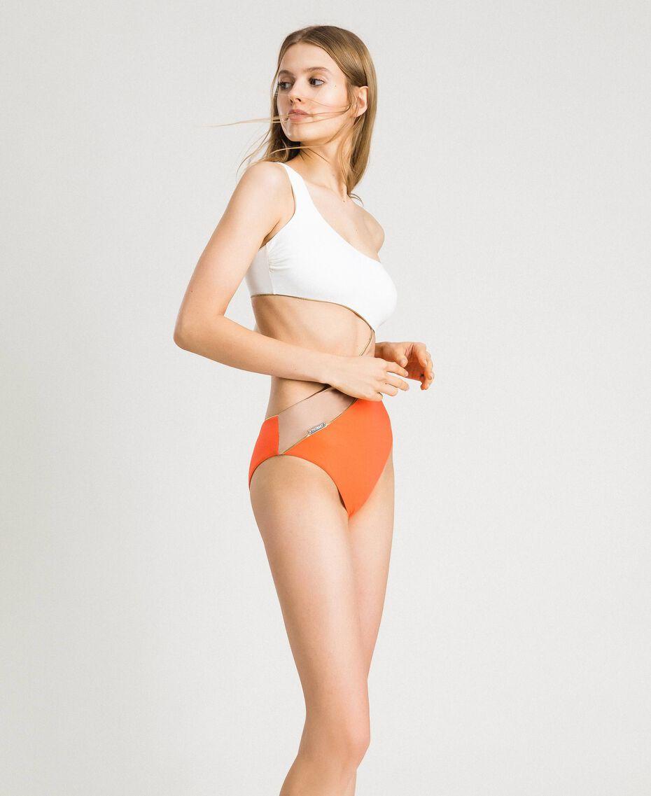 "Einschultriger Badeanzug im Color-Block-Look Multicolour ""Orange Juice"" / ""Milkyway"" Beige / ""Petra Sandstone"" Braun Frau 191LMMHZZ-02"