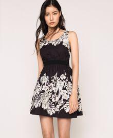 Robe en popeline florale Imprimé Fleur Graphique Noir Femme 201TT2312-01