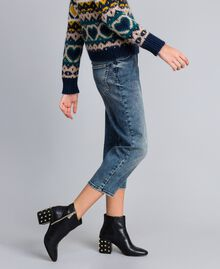 Loose fit soft denim jeans Denim Blue Woman YA82W1-03