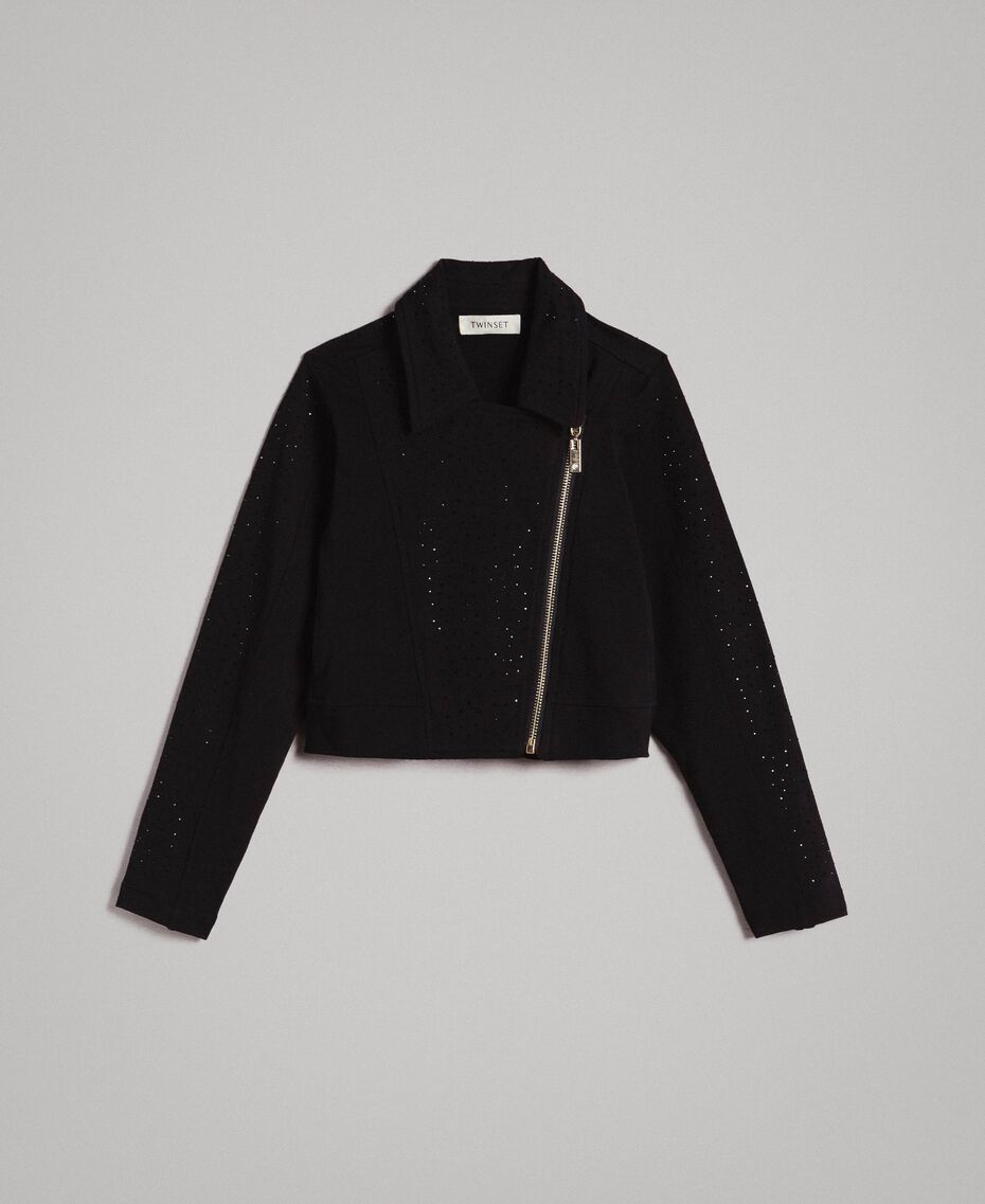Fleece biker jacket with rhinestones Black Child 191GJ2460-01