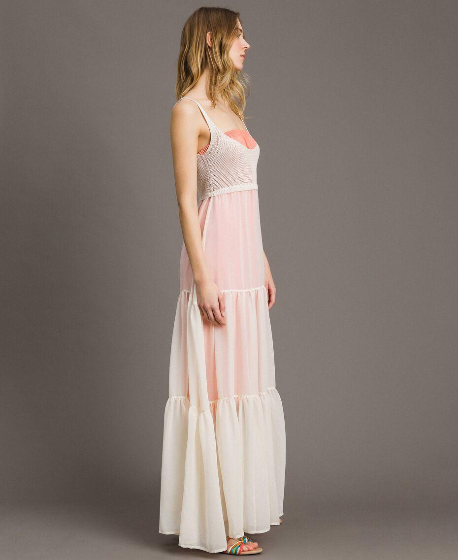 "Long chiffon and knit dress ""Milkway"" Beige Woman 191LB2KBB-02"