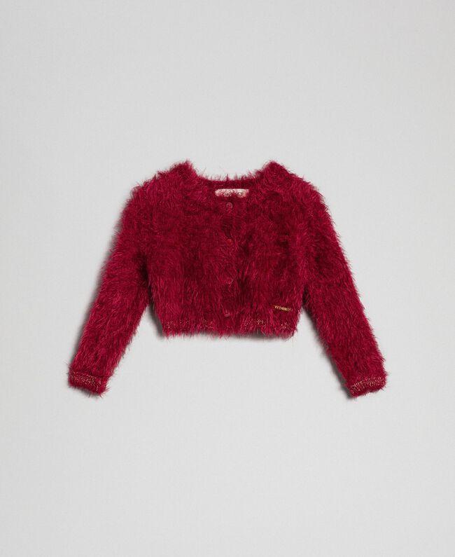 Cardigan boléro en fil effet fourrure Rouge Ruby Wine Enfant 192GB3061-01