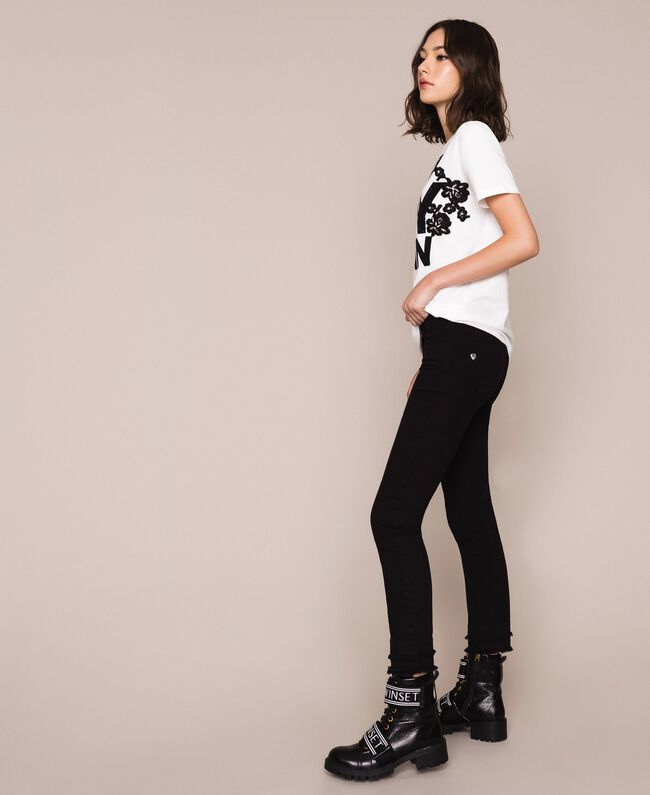 Skinny trousers with frayed hem Black Woman 201MP2301-01