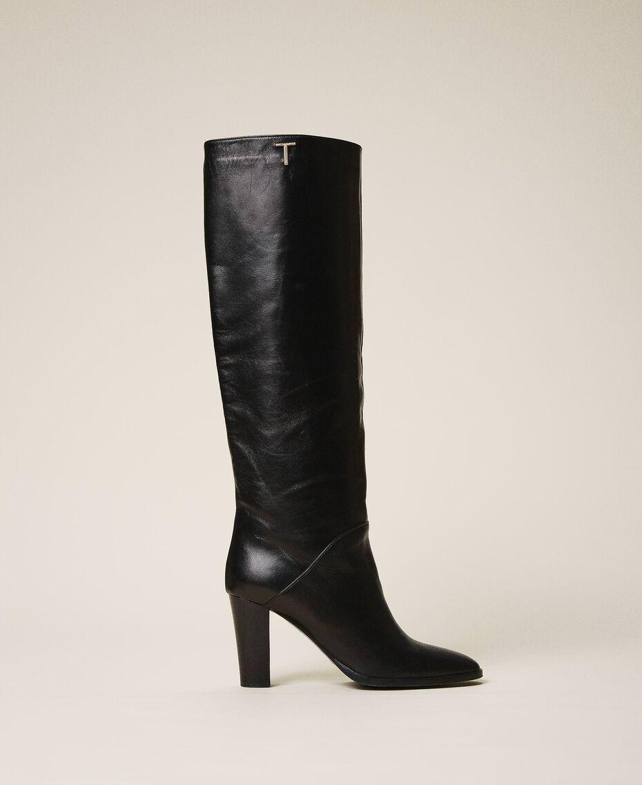 Hoher Stiefel aus Leder Schwarz Frau 202TCT084-02