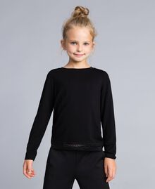 Jersey lace t-shirt Black Child GCN2F3-01