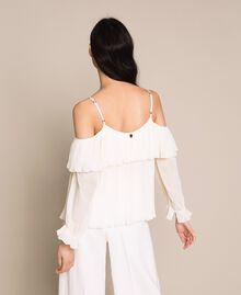 Blouse en crêpe georgette plissé Blanc Antique White Femme 201TT2090-03