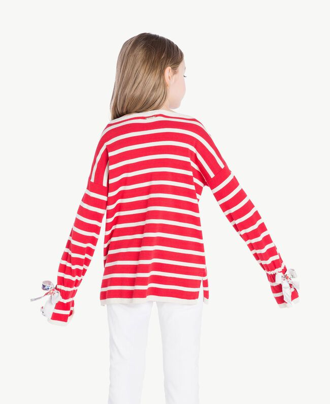 Striped maxi pullover Pomegranate Red / Chantilly Stripes / Flower Print Child GS83BA-04