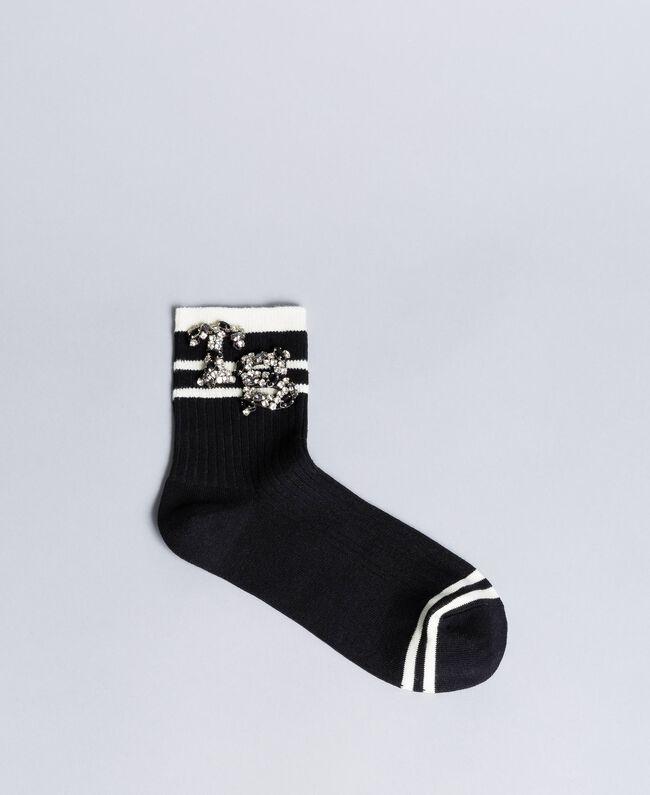 Chaussettes côtelées avec patch strass Noir Femme AA8P6G-01