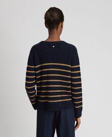 Pullover aus Wollmischung mit Lurexstreifen Streifen Mitternachtblau / Dunkelgold Frau 192TT3360-03
