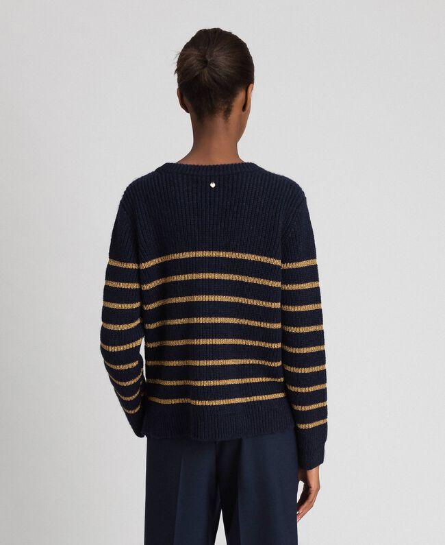 Pull en laine mélangée à rayures lurex Rayé Midnight Bleu / Or Foncé Femme 192TT3360-03
