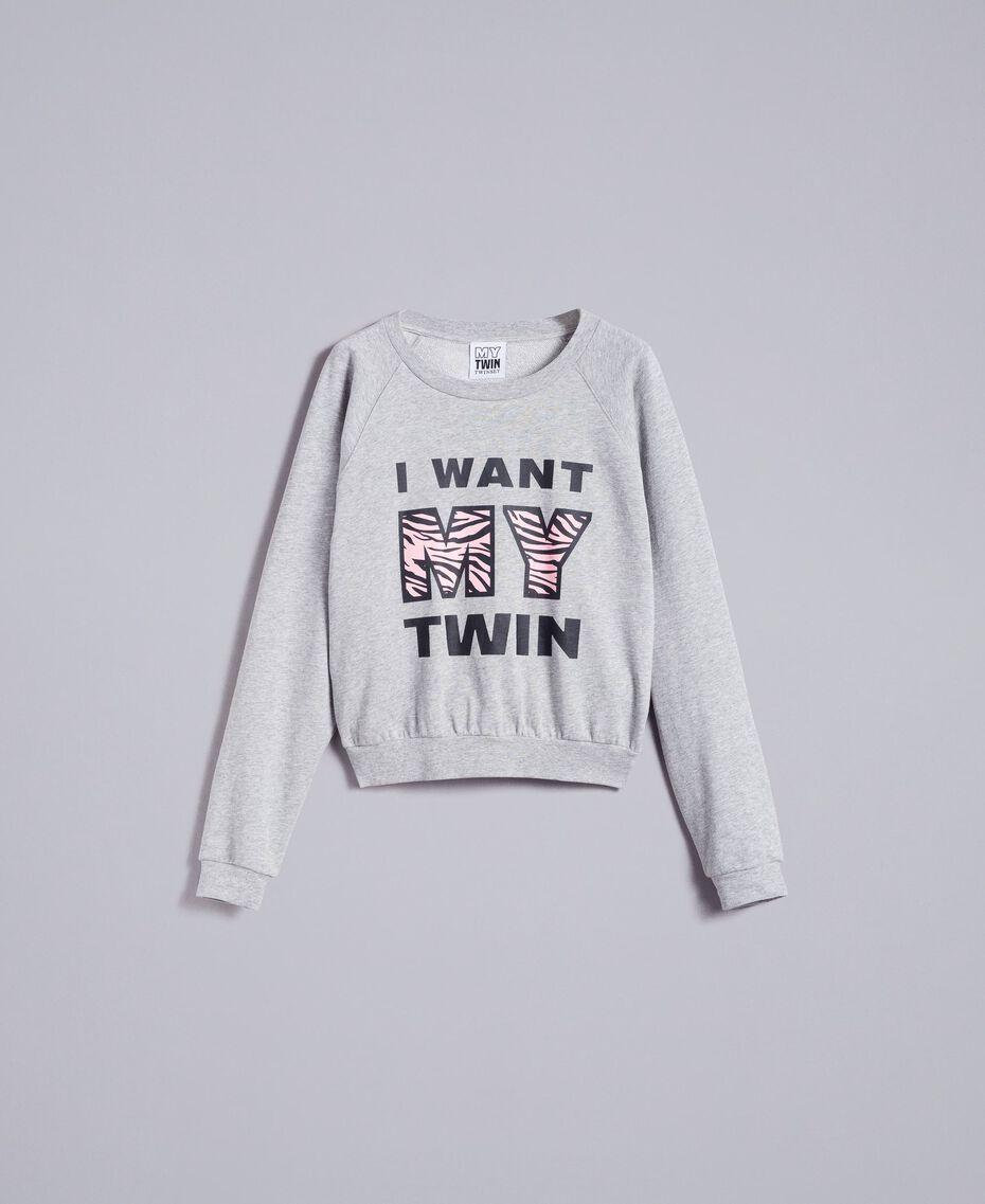Sweatshirt aus Baumwolle Hellgrau-Mélange Frau JA82FB-0S