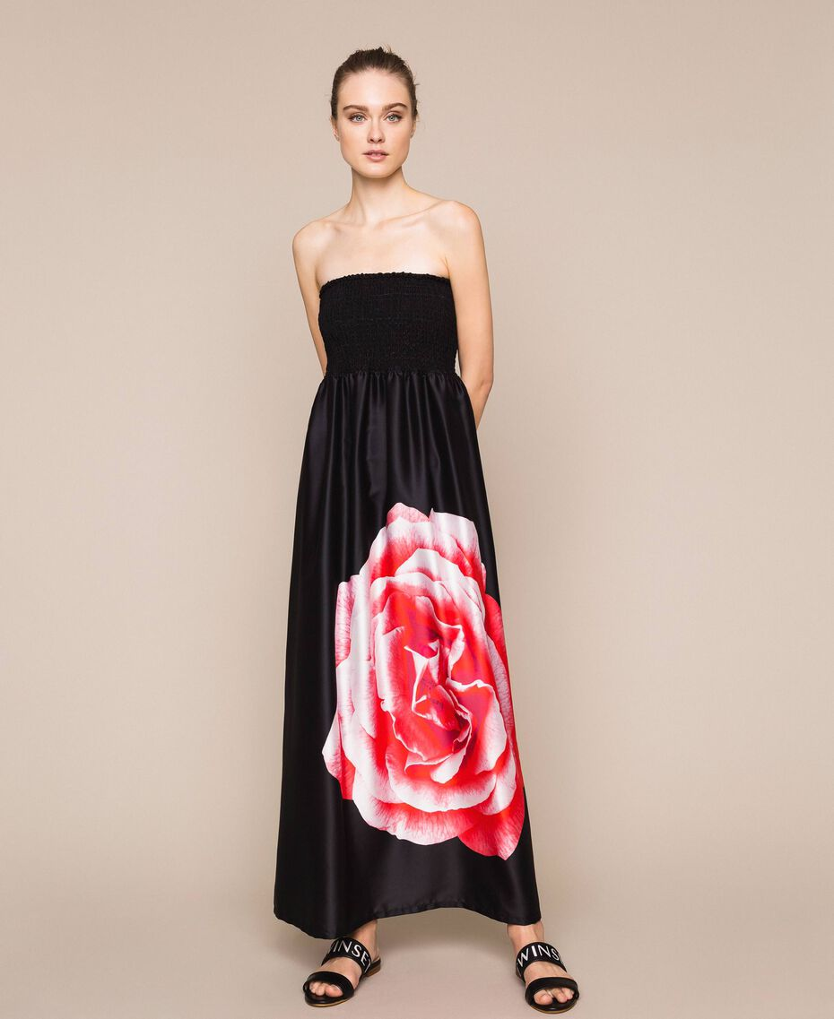 Long dress with print Black Rose Print Woman 201LB28SS-01