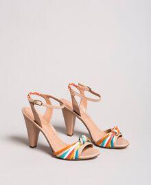 """Sandales bicolores en cuir Beige """"Nude"""" Femme 191TCT018-01"""