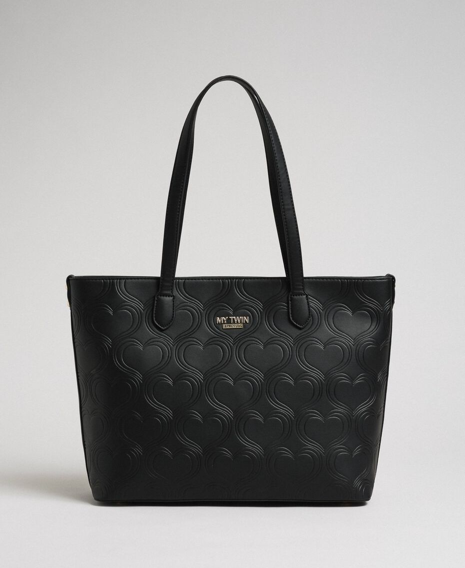 Shopper aus Lederimitat mit Herzprägung Schwarz Frau 192MA7010-02