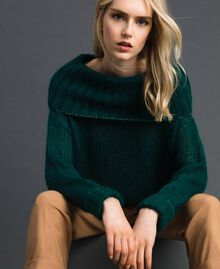 Mohair jumper with lurex stripes Dark Green Woman 192TP3292-01