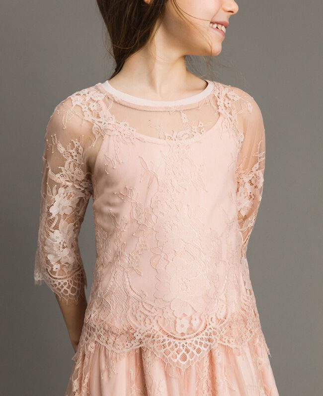 Jersey dress and lace blouse Blossom Pink Child 191GJ2740-04