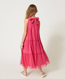 """Muslin long dress with patch embroidery """"Fuchsia Purple"""" Pink Child 211GJ2QC2-03"""