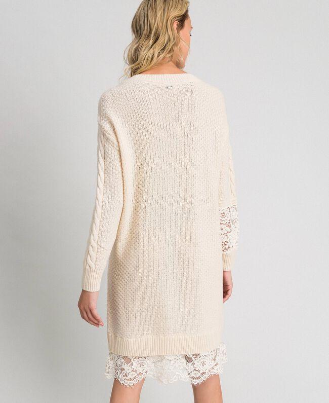 Robe en laine mélangée avec mélange de points et dentelle Blanc Crème Femme 192ST3051-04