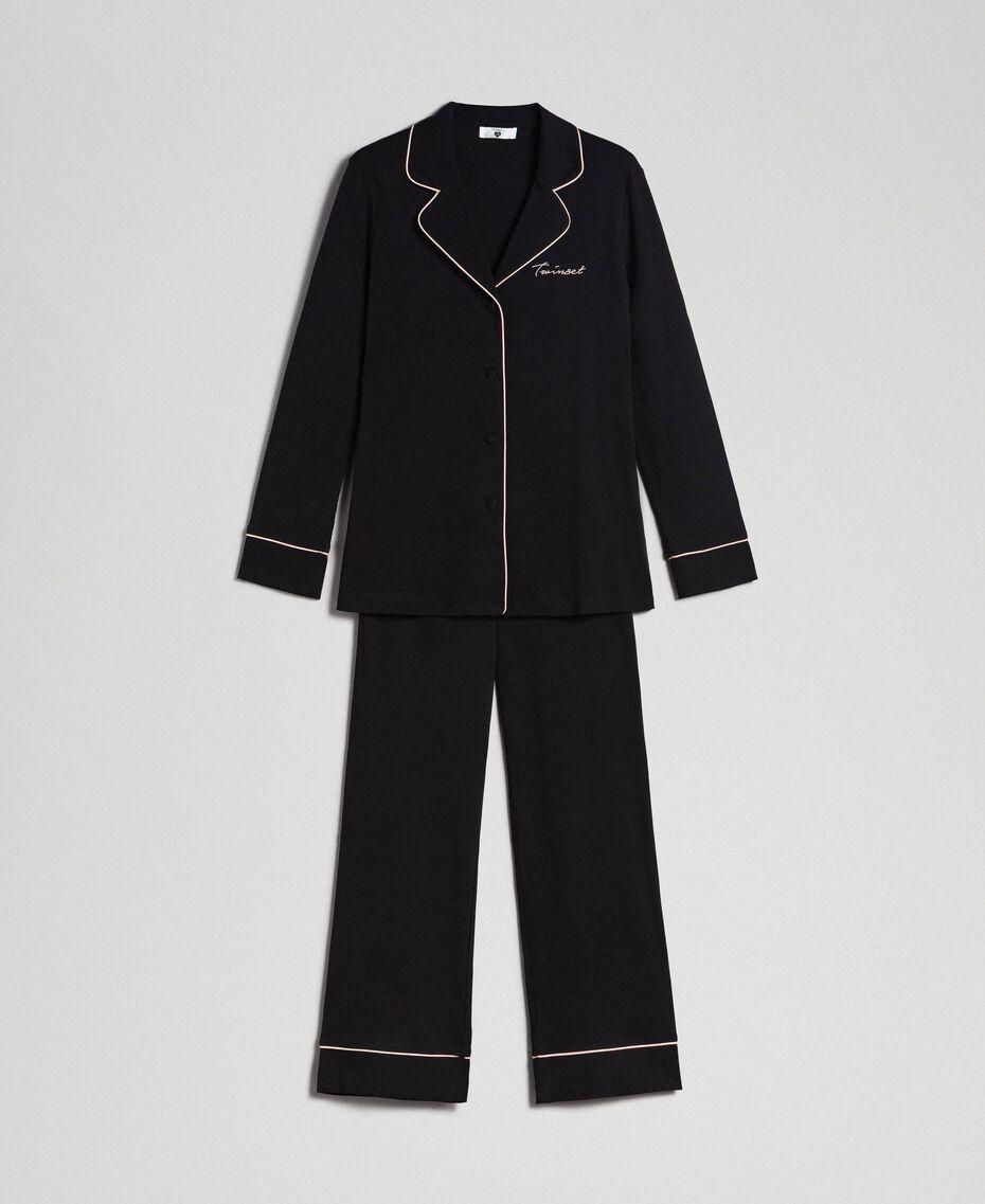 Pyjama long avec bords contrastés Noir Femme 192LL2DMM-0S